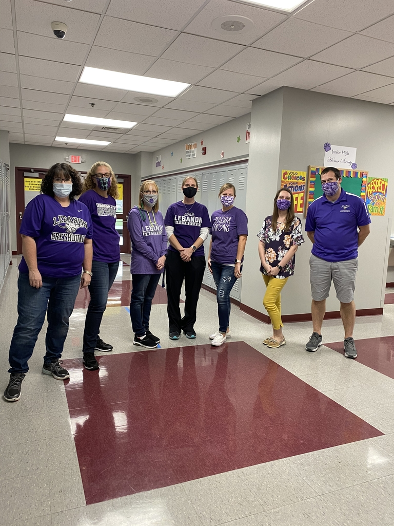Junior High Teachers in purple spirit wear!