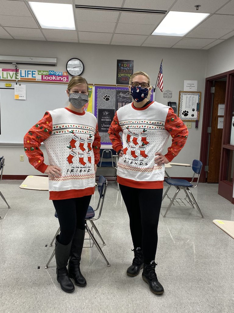 Twinning on Christmas ugly sweater day