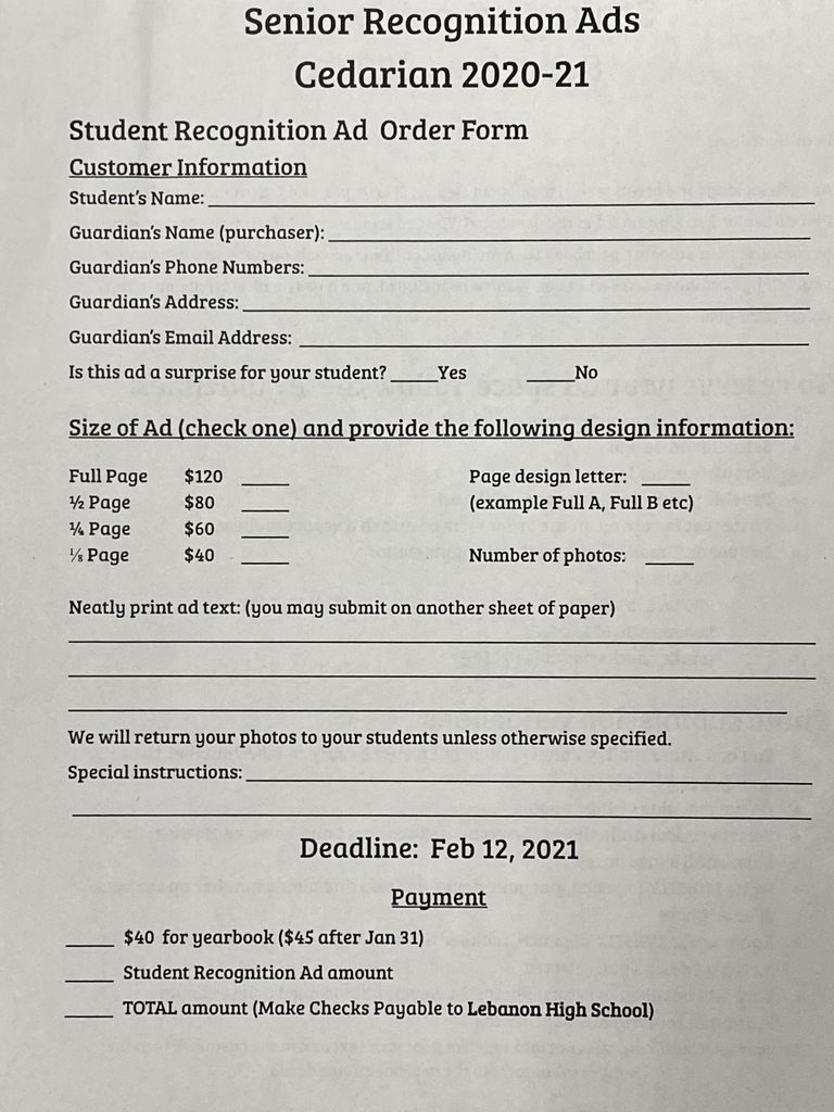 Form for senior ad cost