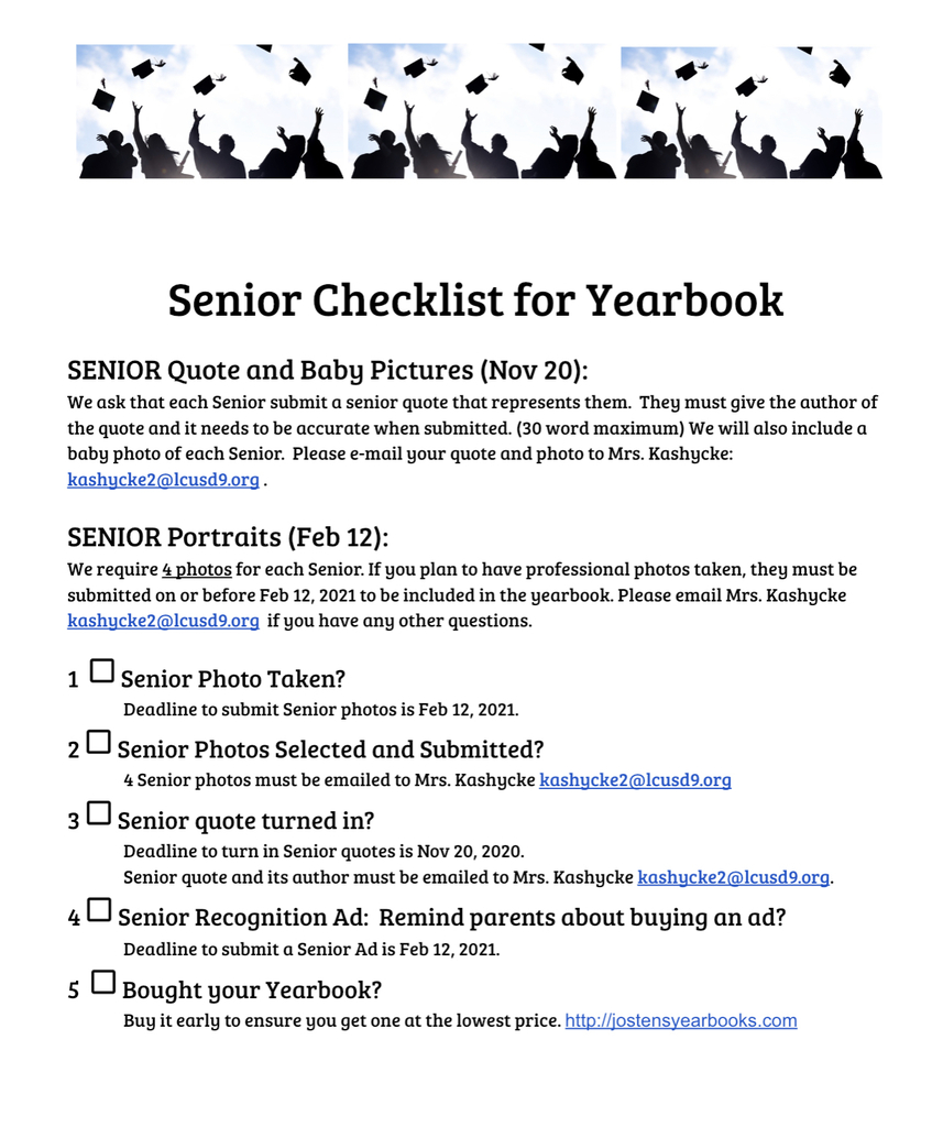 Form for seniors checklist
