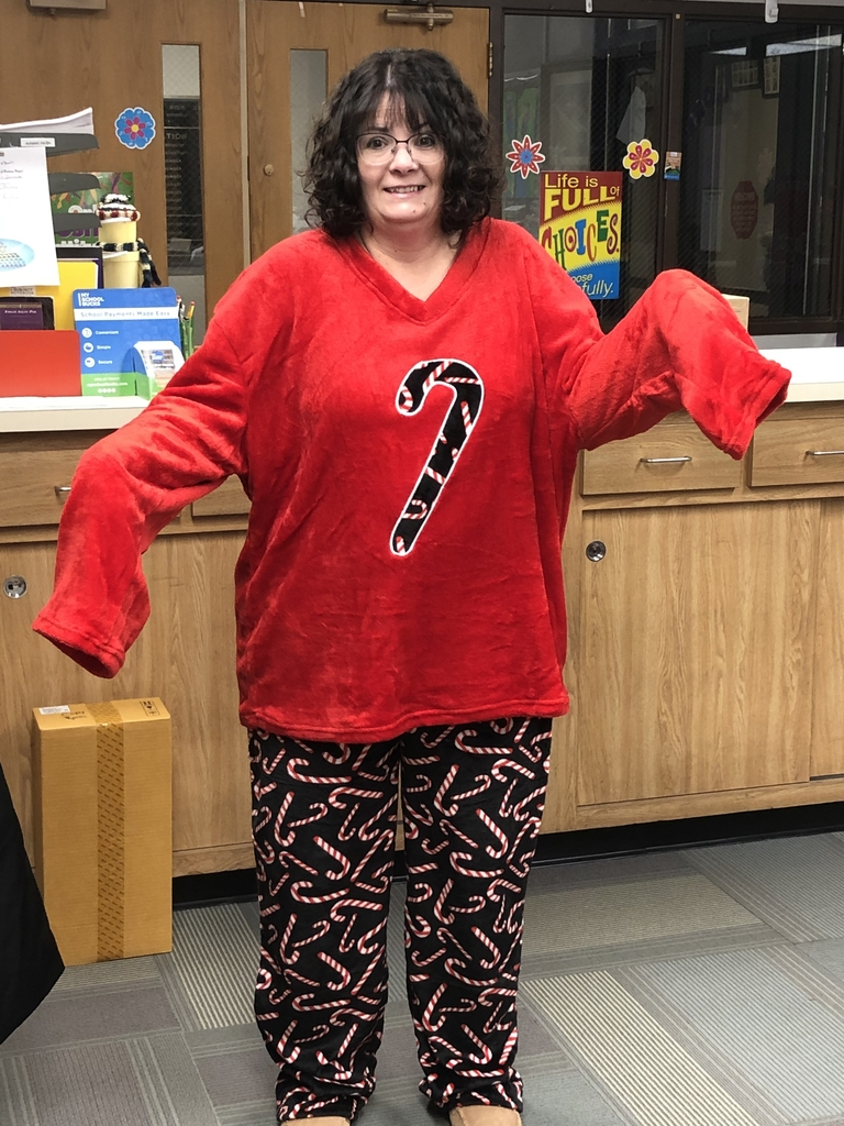 Mrs. Jackson in her Christmas jammies!